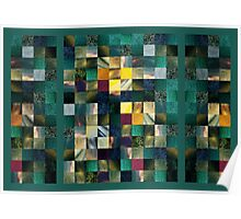 Abstract Squares Triptych Gentle Green Poster