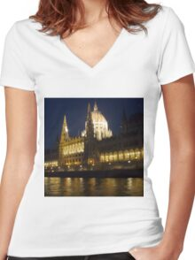 Budapest Parliament House Women's Fitted V-Neck T-Shirt
