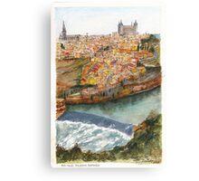 River Tagus Weir, Toledo Canvas Print