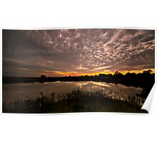 Rural Dam Sunset Poster