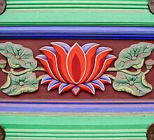 Flower Motif at Bongwansa Temple by Anthony Woolley