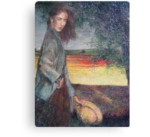 Girl with yellow hat. Canvas Print