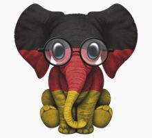 Baby Elephant with Glasses and German Flag One Piece - Short Sleeve