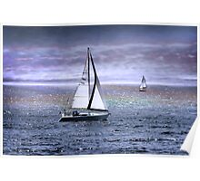 Sailing The Ocean Blue Poster