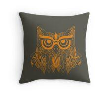 Beautiful Abstract Golden Tribal Owl Throw Pillow