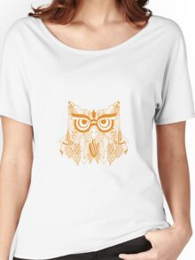 Beautiful Abstract Golden Tribal Owl Women's Relaxed Fit T-Shirt