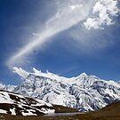 High altitude lake and Annapurna Range, Nepal by John Spies