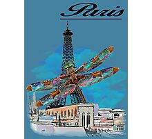Paris Eiffel under attack dragonfly  unique vintage gifts  Photographic Print