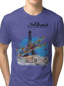 Paris Eiffel under attack dragonfly  unique vintage gifts  Tri-blend T-Shirt