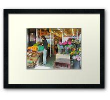 Buying Fresh Fruit Framed Print