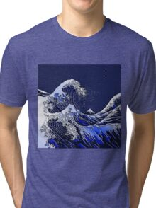 The Great Hokusai Wave chrome carbon fiber styles Tri-blend T-Shirt