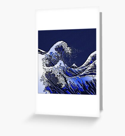The Great Hokusai Wave chrome carbon fiber styles Greeting Card