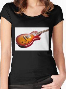 Les Paul Guitar Cherry Sunburst Women's Fitted Scoop T-Shirt