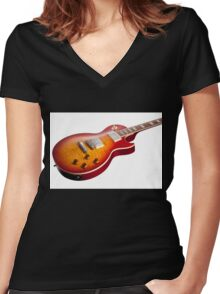 Les Paul Guitar Cherry Sunburst Women's Fitted V-Neck T-Shirt