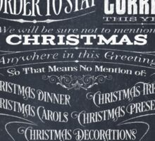 Politically Correct or Incorrect Black Chalkboard Typographic Christmas Card - We Sticker