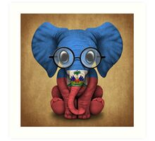 Baby Elephant with Glasses and Haitian Flag Art Print