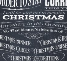Politically Correct or Incorrect Black Chalkboard Type Design Christmas Card - I Sticker