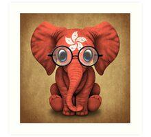 Baby Elephant with Glasses and Hong Kong Flag Art Print