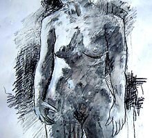 Nude- in charcoal by Lyndsey O'Connell