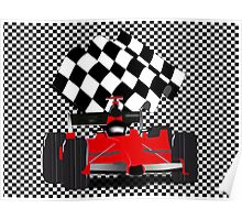 Red  Race Car with Checkered Flag Poster