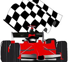Red  Race Car with Checkered Flag by Gravityx9