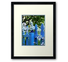 Fence Post Bust, Lady Holding Framed Print