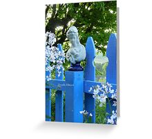 Fence Post Bust, Lady Holding Greeting Card
