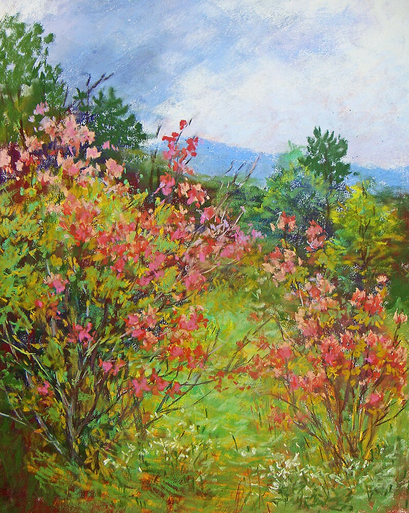 Blooming rododendrons by Julia Lesnichy