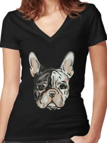 Friday French Face Women's Fitted V-Neck T-Shirt