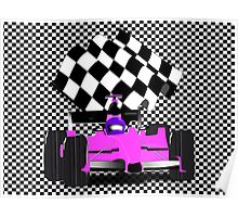 Pink Race Car with Checkered Flag Poster