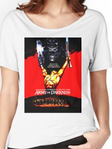 Army Of Darkness 80's Red and Black Design Women's Relaxed Fit T-Shirt