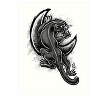 Black and White Moon Panther Art Print