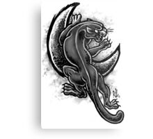 Black and White Moon Panther Metal Print