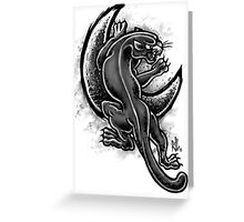 Black and White Moon Panther Greeting Card