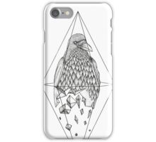 Geometric Crow in a diamond (black and white version) iPhone Case/Skin