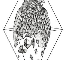 Geometric Crow in a diamond (black and white version) by Beatrizxe