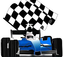 Blue Race Car with Checkered  Flag by Gravityx9