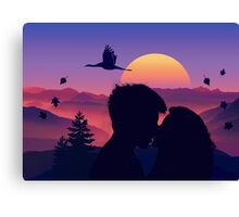 Rising Sun and Flying Swan And Kissing Lovers Canvas Print