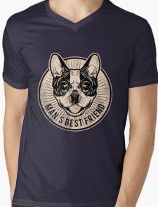 Frenchie Mens V-Neck T-Shirt