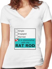 In A Relationship With My Rat Rod Women's Fitted V-Neck T-Shirt
