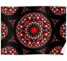 Symmetric Red and Black Flowers Poster