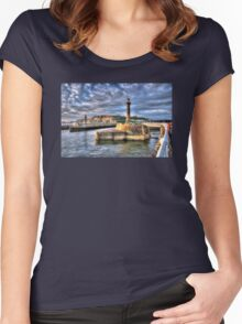 Whitby Harbour on the North Yorkshire Coast Women's Fitted Scoop T-Shirt