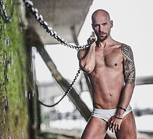 Taking  a shower in the water the pours down the wall of the River Thames in London with Valdii by GrahamMartin