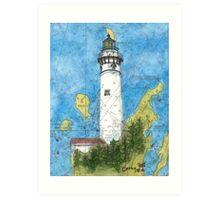 S Manitou Island Lighthouse MI Nautical Chart Peek Art Print
