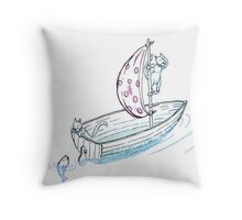 Cats at Sea Throw Pillow