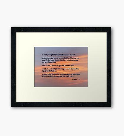 Genesis 1 1-5 In the Beginning Framed Print
