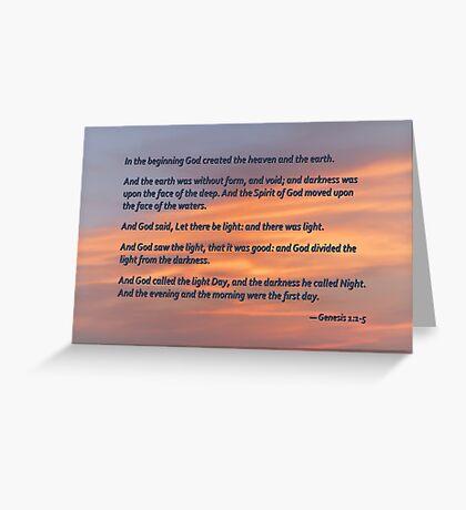 Genesis 1 1-5 In the Beginning Greeting Card