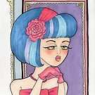 Blue-haired girl in pink prom dress by lexilou37