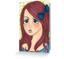 Brunette with Blue Bow Greeting Card