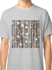 Vintage yellow pink floral rustic wood pattern  Classic T-Shirt